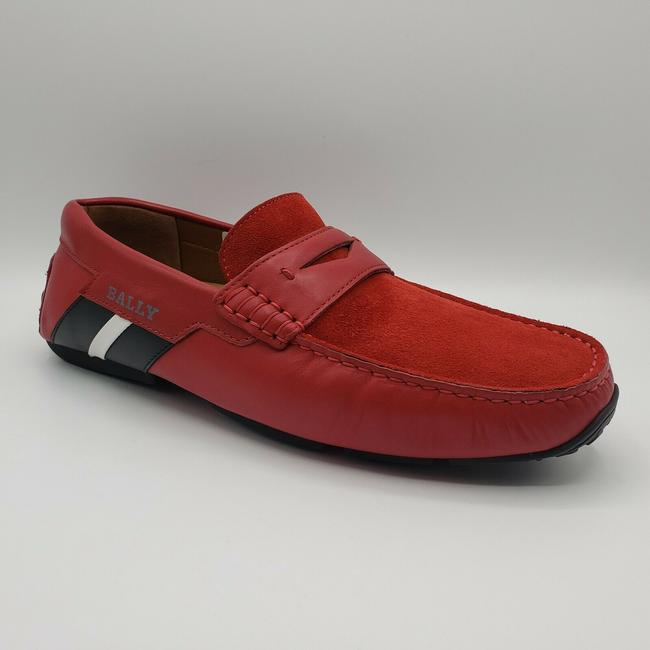 Item - Red W Leather/Suede Slip On Loafer W/Black/White Web Logo Us 7.5d / 6.5 Eu Shoes