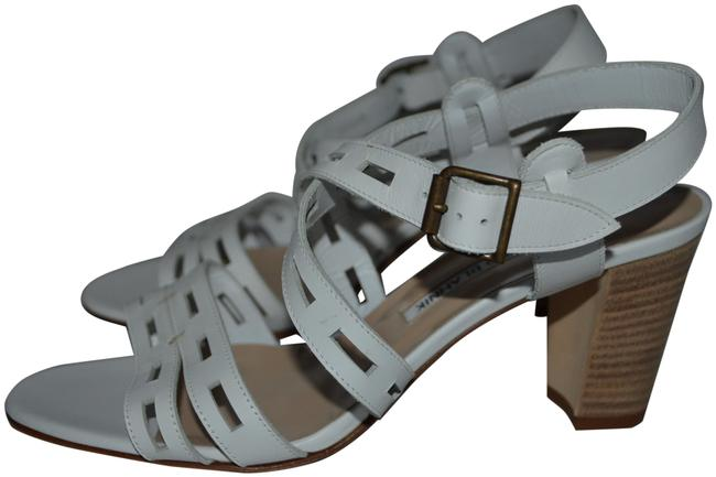 "Item - White Leather Ankle Strap 2.75"" Sandals Size EU 37 (Approx. US 7) Regular (M, B)"