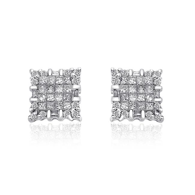 Item - 14k White Gold 1.00 Carat Diamond Cluster Stud Earrings