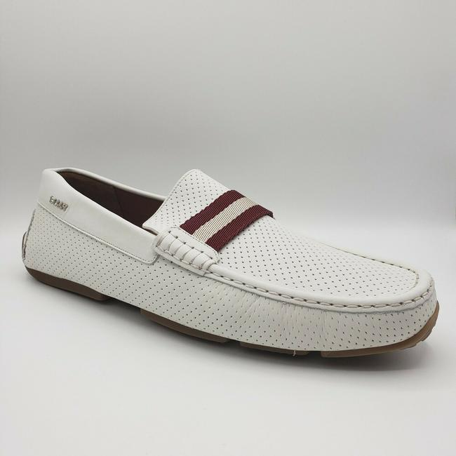 Item - White Perforated Leather Loafer with Burgundy/White Web Us 12d/Eu 11 Shoes