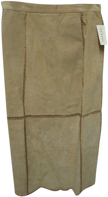 Item - Taupe Suede W/ Lace Long Lined New Medium Md Skirt Size 10 (M, 31)