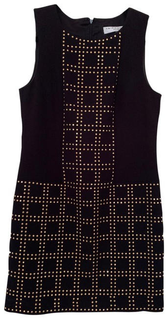 Item - Black Gold Studded Sheath Short Cocktail Dress Size 6 (S)