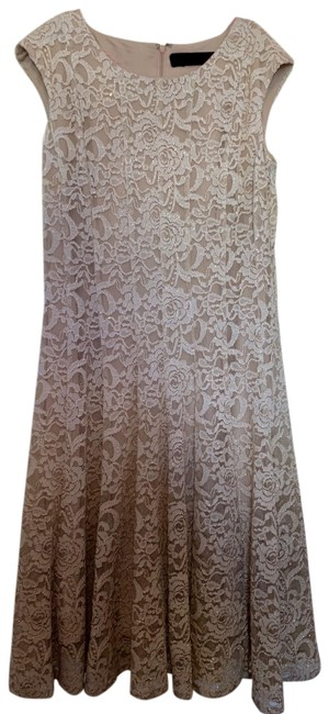 Item - Gold Ombre Lace Overlay Mid-length Cocktail Dress Size 4 (S)