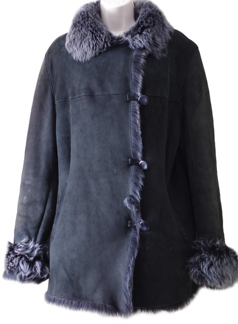 Item - Black Shearling Genuine Sheepskin Women Coat Size 6 (S)