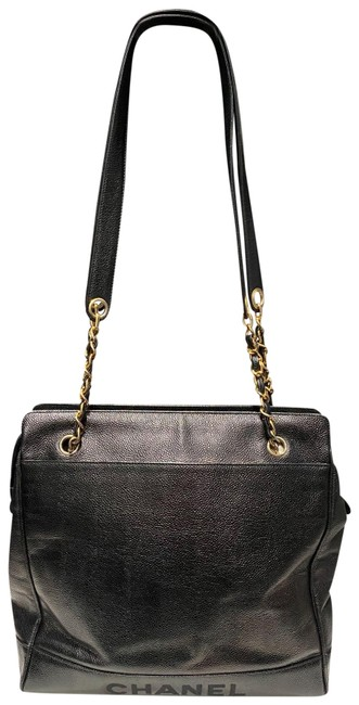 Item - Shopping Bag Black Gold Pebbled Leather Tote