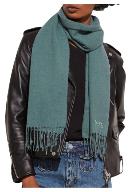 Item - Dark Turquoise Horse and Carriage Embroidered Muffler Scarf/Wrap