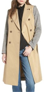 Item - Khaki Belted with Plaid Sleeves Coat
