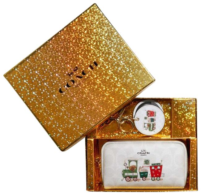 Item - White/Multi Signature Coated Canvas and Smooth Leather Small Boxy Cosmetic Bag
