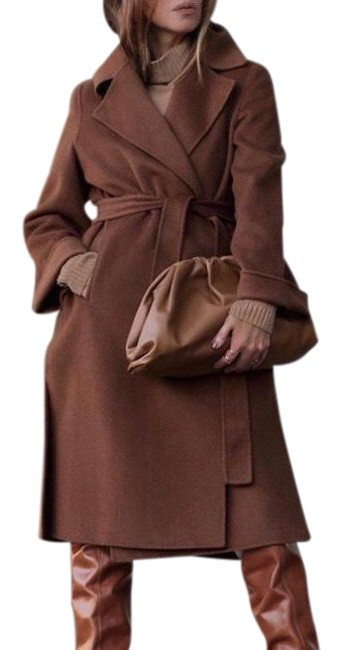 Item - Brown Wool Wrap Style In Chocolate Coat Size 2 (XS)