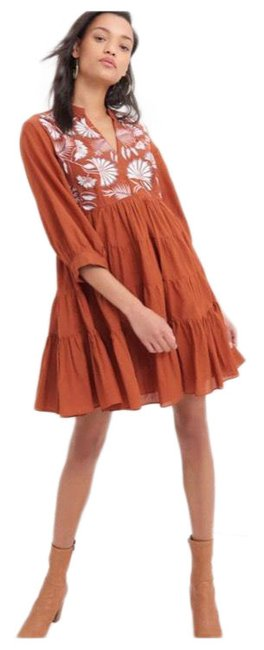 Item - Rust Apolline Embroidered Tunic Short Casual Dress Size 8 (M)