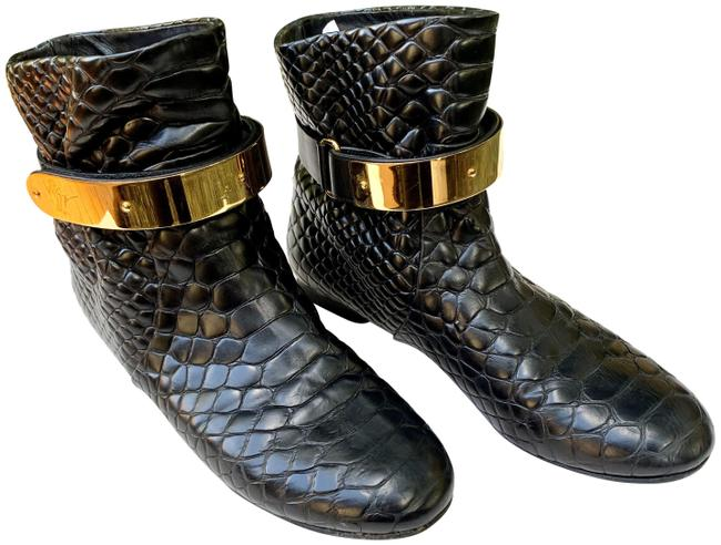 Item - Black with Gold Buckle Croc Embossed Boots/Booties Size US 8 Regular (M, B)