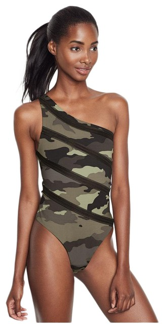 Item - Green Camouflage One-shoulder Bodysuit Activewear Top Size 2 (XS)