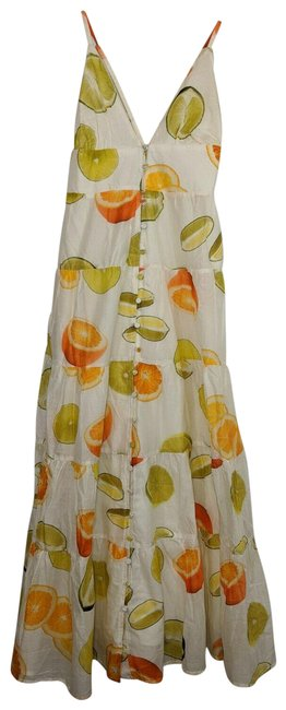 Item - Orange Green Edie Parker X Tiered Midi Lime & S Mid-length Casual Maxi Dress Size 4 (S)