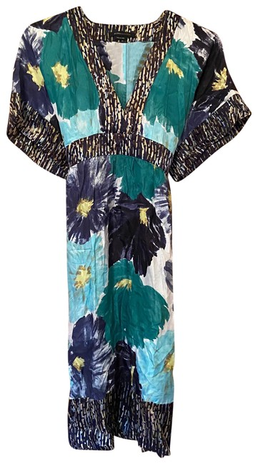 Item - Multicolor Kimono Silk Watercolor Mid-length Cocktail Dress Size 8 (M)