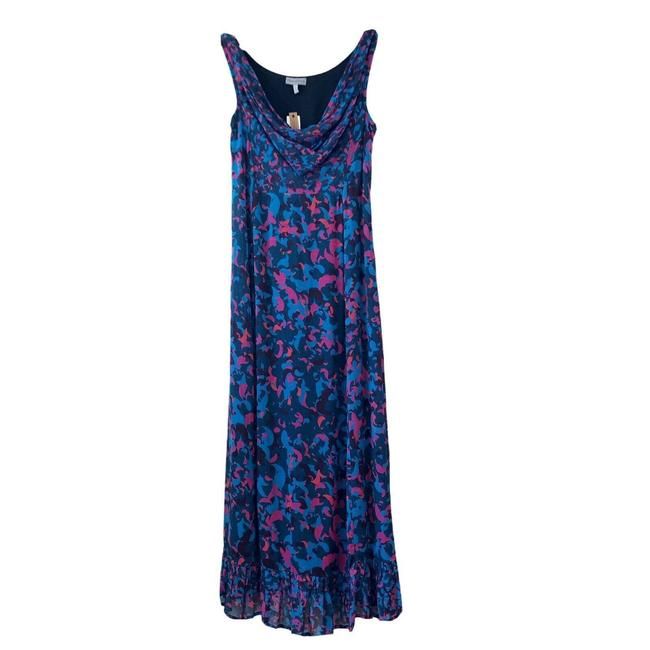 Item - Blue Alisandra Maxi Motif Viscose Long Cocktail Dress Size 2 (XS)