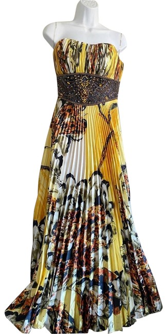 Item - Yellow Digital Print Pleated Strapless Maxi Gown Long Formal Dress Size 4 (S)