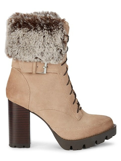 Item - Taupe Suede Leather Faux Fur Lace Up Waterproof Chunky Winter Gutsy Boots/Booties Size US 8 Regular (M, B)