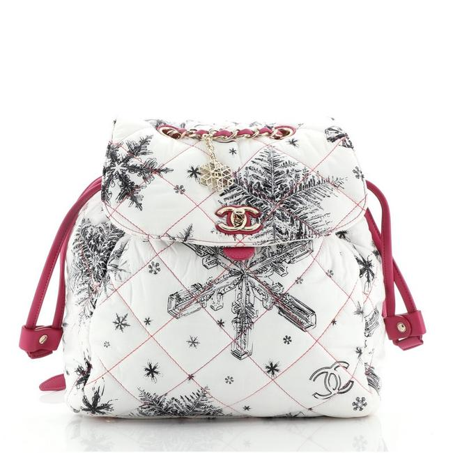Item - Cc Flap Quilted Printed Small Purple White Nylon Backpack