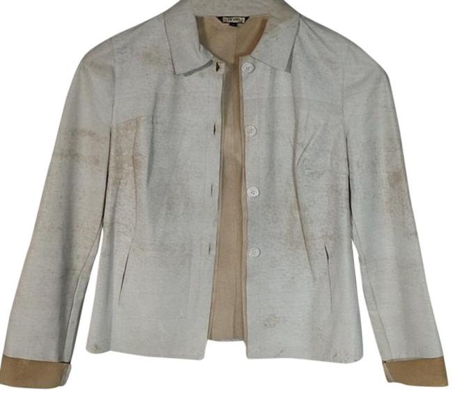 Item - Cream Tan Fitted Button Up Jacket Size 8 (M)