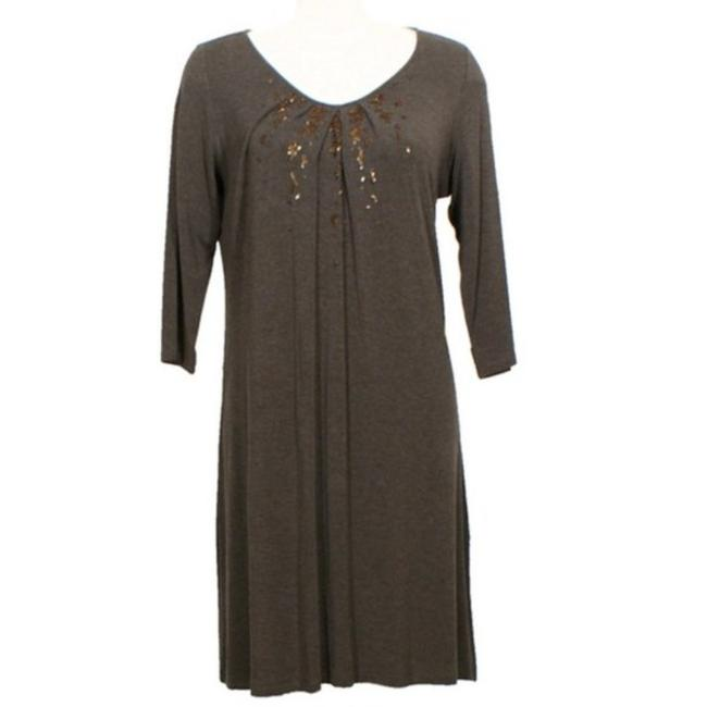 Item - Brown Jersey Scoop Neck Sequin Swing Mid-length Casual Maxi Dress Size 8 (M)