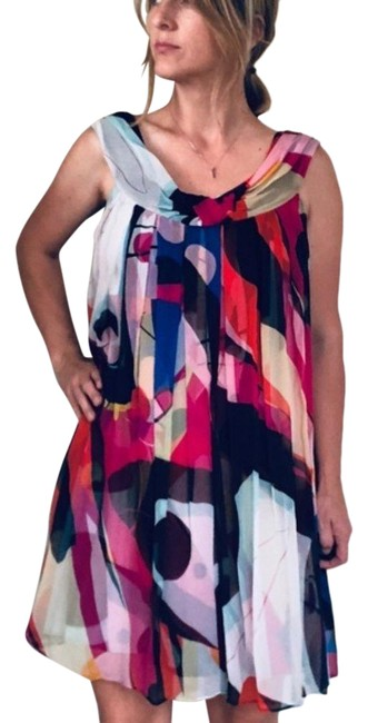 Item - Multicolor Spinoza Silk Mid-length Night Out Dress Size 2 (XS)