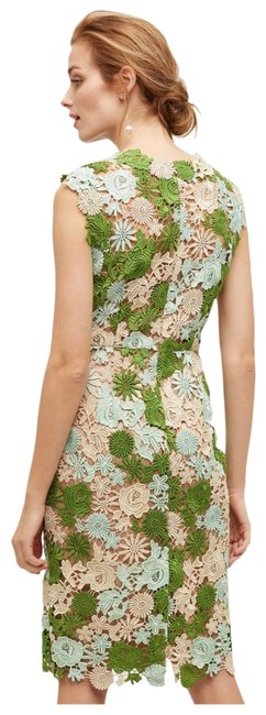 Item - Neutrals/Green Lace Garden Pencil From Anthropologie Mid-length Cocktail Dress Size 2 (XS)