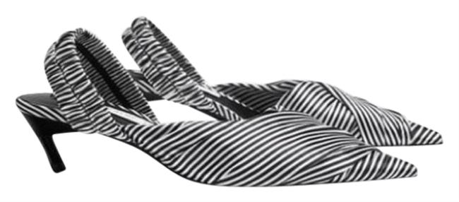 Item - Black and White Stripped Sling-back Point Toe Low Heel Flats Size EU 36 (Approx. US 6) Regular (M, B)