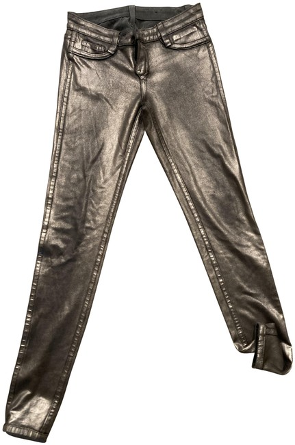 Item - Silver/Gray Coated Skinny Jeans Size 27 (4, S)