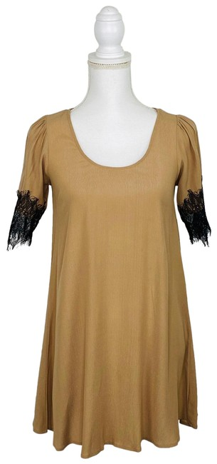 Item - Camel Lace Trimmed Festival Altered Short Casual Dress Size 2 (XS)