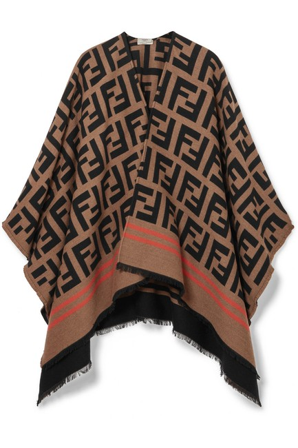 Item - Frayed Wool and Silk-blend Jacquard Poncho/Cape Size OS (one size)