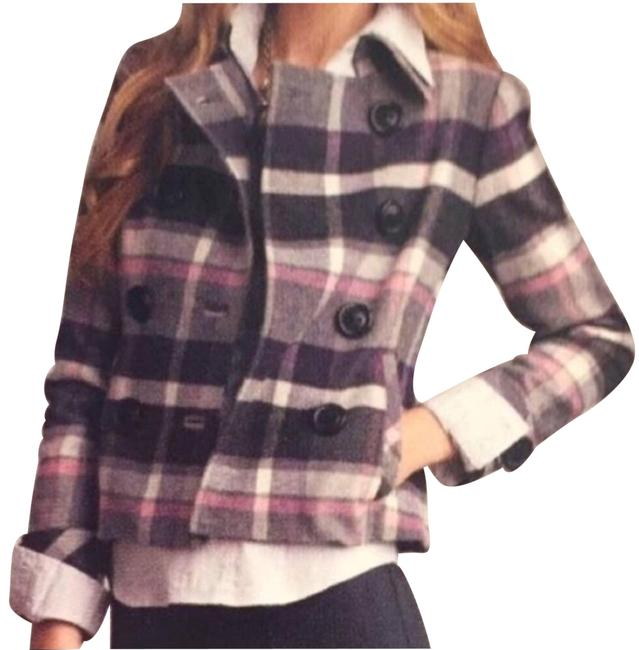 Item - Gray Double Breasted Plaid 208 Pink Black Purple Coat Size 8 (M)
