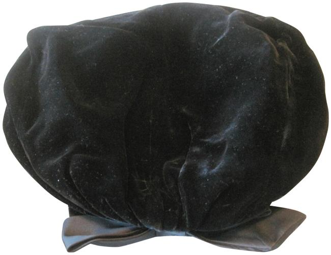 Item - Black Vintage Velvet Beret with Satin Bow Hat