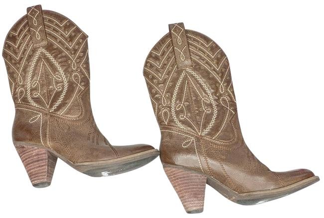 Item - Brown Los Angeles Embroidered Shaft Cowgirl Boots/Booties Size US 7 Regular (M, B)