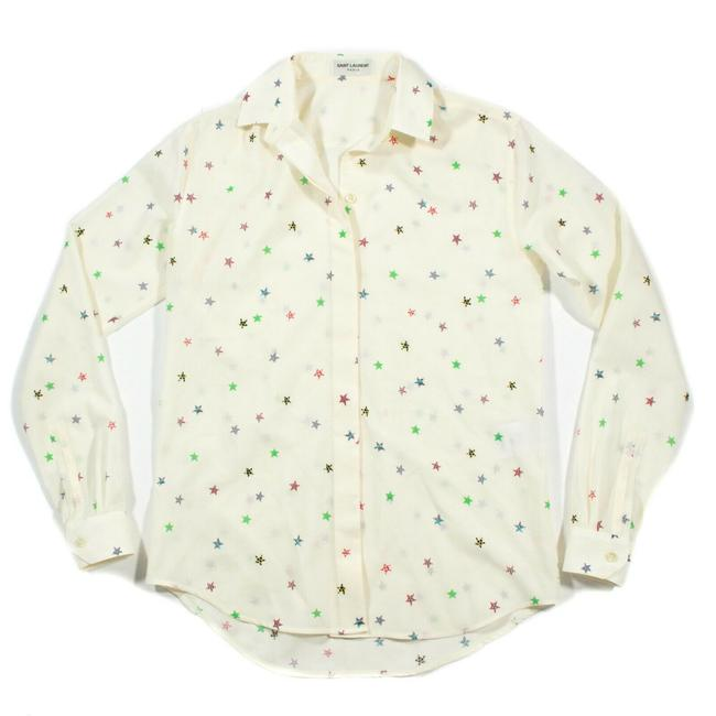 Item - White Multi-color New 2018 Star Print Shirt Oversized Us 4 6 8 - 34 Button-down Top Size 2 (XS)