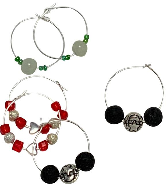 Item - Red Black Jade Green W Three Pairs Of Charmed Stoned W/Heart Ss Earrings