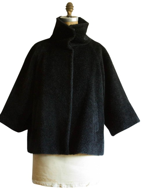 Item - Black 3/4 Sleeve Stand Collar Wool Coat Size 6 (S)