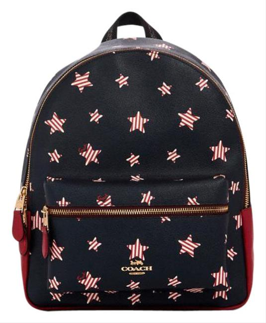 Item - Charlie With Americana Star Print Navy/ Red Multi Printed Coated Canvas Smooth Leather Backpack