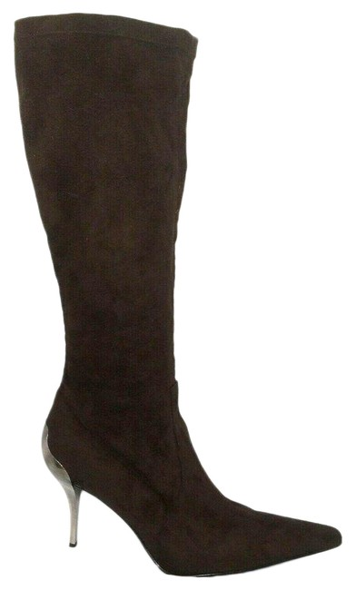Item - Brown Stretch Suede Tall Metal Heel Boots/Booties Size US 10 Regular (M, B)