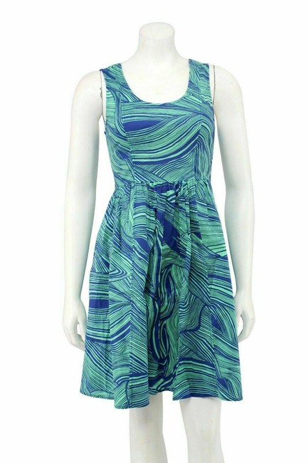 Item - Green Blue Printed Cotton Fit and Flare Short Casual Dress Size 2 (XS)