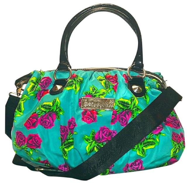 Item - XL Must See-betseyville Floral Blue-black-silver-purple Canvas/Faux Leather Satchel
