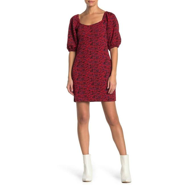 Item - Red Sunset Mini Puff Sleeve Short Casual Dress Size 8 (M)
