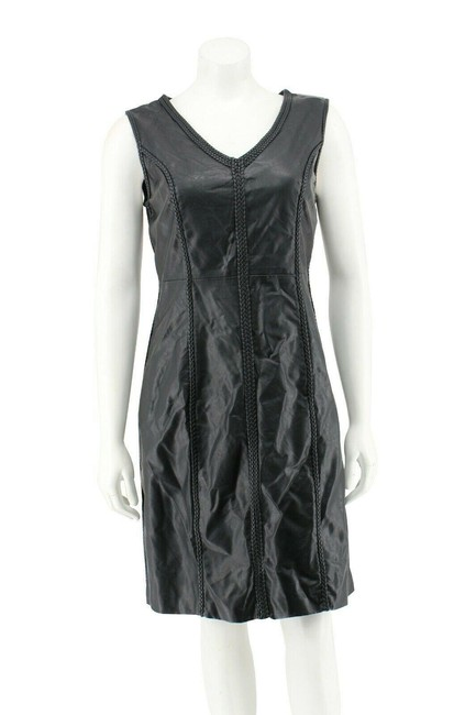 Item - Black Faux Leather Pleather Sleeveless Braid Trim Short Night Out Dress Size 8 (M)