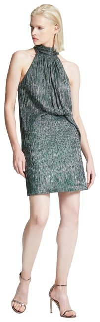 Item - Green and Silver Mock Neck Short Cocktail Dress Size 6 (S)