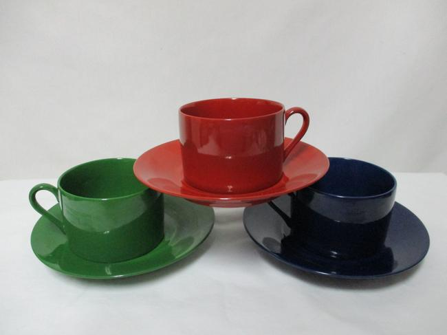 Item - Rust Orange Blue Green Vintage Emilio Bergamin Italy Cup & Saucer Set 3 Casual China