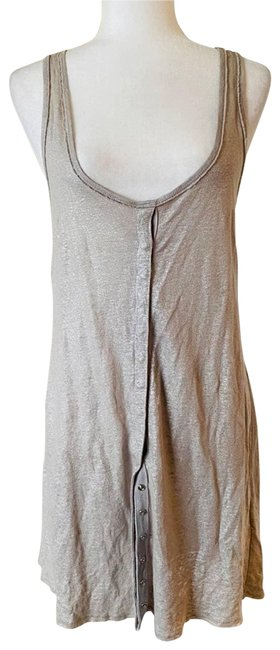 Item - Tan Racerback Metallic Short Cocktail Dress Size 4 (S)