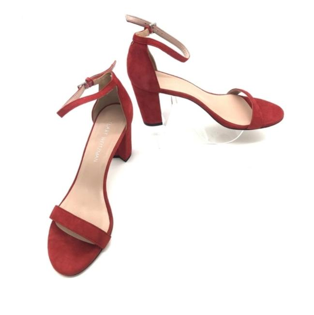Item - Red Suede Block Heel Sandals Pumps Size US 10 Regular (M, B)