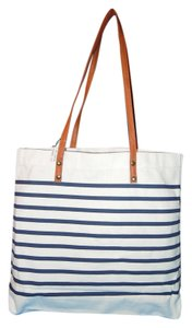 Tote in navy & white stripe