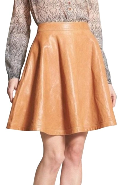 Item - Orange Tan Dvf Brown Leather A-line Skirt Size 4 (S, 27)