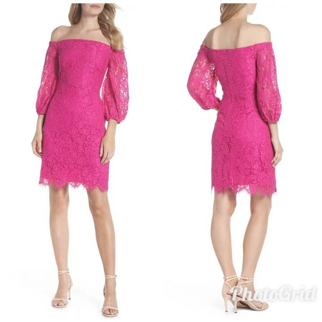 Item - Pink Azul Off The Shoulder Lace 3/4 Sleeve Mid-length Cocktail Dress Size 2 (XS)