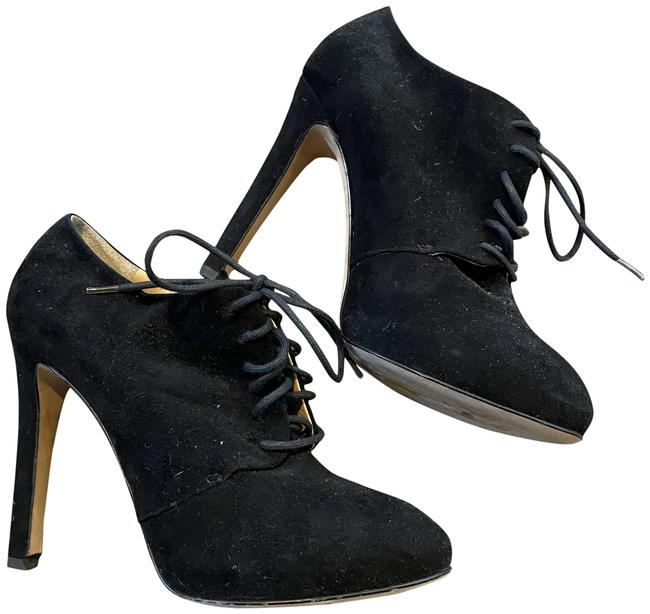 Item - Black Suede Leather Lace Up Ankle Platform Boots/Booties Size EU 37.5 (Approx. US 7.5) Regular (M, B)
